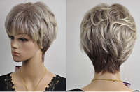 Wholesale Imitation human made high Elderly Kanekalon Fiber wig Popular wave short blonde mixed gray curly wigs