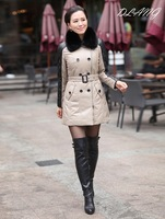 New 2013 genuine leather down coat Real sheepskin Down jacket spliced outerwear leather down coat Women leather coat