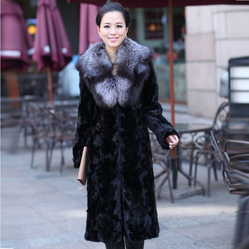 New 2013 Winter Coat Women Coats Fur Mink Black Dark red Casaco Top Grade Fur Coat Women