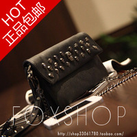 2013 fashion vintage punk skull rivet black small chain bag messenger bag women's handbag