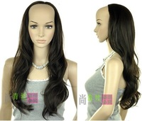 "Wholesale Imitation human made high 26"" Stylish long roll bulkness half fashion female dark brown wave wig 3/4 wigs"