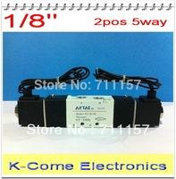 1/8'' Double Postion 5 Way Airtac Air Solenoid Valve 4V120-06 Dual Coils BSP 4V12006