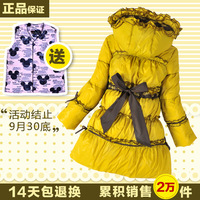 Free shipping 13 bow ruffle female child princess child down coat