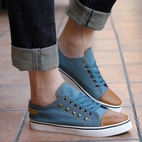 Spring and summer vintage denim low canvas shoes rivet casual shoes skateboarding shoes hiphop hip-hop shoes sports shoes