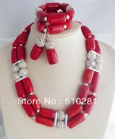 Free ship!!!  African wedding jewelry set ,Red coral necklace bracelet and earring set