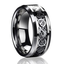 2013 hot-selling Dragon Tungsten Carbide Ring Mens Jewelry Wedding Band Silver New size 8,9,10,11,12,13,free shipping