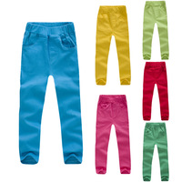 Children's clothing 2014 Spring and autumn female child trousers candy color child skinny pants casual trousers elastic