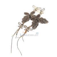 LY4# Fashion Jewelry Women Girls Charming Big Butterfly Dangle Earring Gift Gold