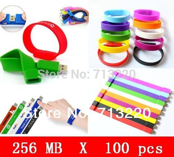 100pcs X 256MB Wholesale Bracelet Genuine USB Flash Drive USB 2.0 Port USB Flash Drive Wristband Fast Shipping Hot sale!(China (Mainland))