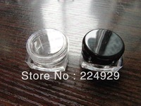 Free shipping - 100/lot 3g clear square cream jar, black cosmetic container, plastic bottle,sample jar,display case
