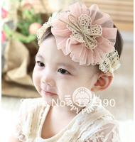 Free Shipping Girl Crochet Flower Headbands Handmade Baby Head band Newborn Stain Mesh Flower Hairbands Fashion Hair Accessories