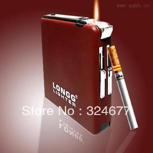 Free shipping  Automatic Cigarette Case Lighter Pocket Ejection Butane Cigarette Case with windproof jet flame lighter