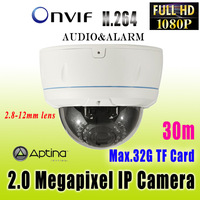 Full HD  2.0 Megapixel  2.8-12mm varifocal indoor&outdoor  1080P Dome ip camera ,audio ,onvif, POE optional support Dahua