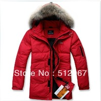 2013 Male thickening medium-long fur collar down coat Men plus size free shipping
