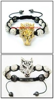 New Fashion Mens Wolf Shamballa Bracelet,Gold & Silver Plated with CZ Crystal Wolf Men Jewelry x20pcs Free Shipping
