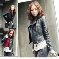 Hot selling the women's motorcycle leather brief paragraph long-sleeved jacket GWF - 3917