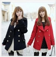 2013 autumn and winter woolen overcoat turn-down collar double-breasted wool buckle wool coat medium-long outerwear