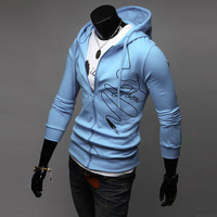 Vitality 13 autumn print with a hood sweatshirt male slim zipper light grey casual outerwear