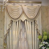 Gold quality thickening fashion white jacquard curtain customize