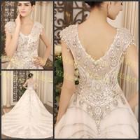 Ultimate luxury crystal wedding dress big train wedding dress bride tube top sweet wedding dress xj563478