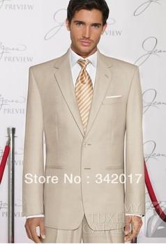 2014 Groom Tuxedos suits/ men TAN 'RAPTURE' SUIT Slim business suits complete designer tuxedo Bridegroom suit Jacket+pant