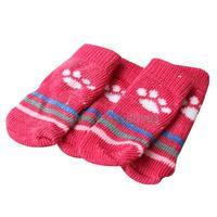 H3 4Pcs Cute Pet Socks Puppy Dogs Knit Weave Warm Socks Anti Slip Skid Bottom Cotton Pet Socks Hot Sale Fashion E