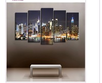 4pcs/set large USA New York City Buildings at Night Aechitechture art wall canvas painting prints on canvas Home Decoration