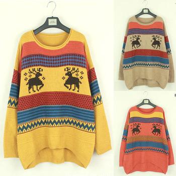 Бесплатная доставка оптовая продажа этническая женщины завышение дир шаблон вязать перемычка свитер и пиджаки трикотаж пуловер