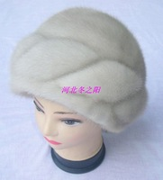 Lady women's mink hat Women winter fur genuine leather full leather fur hat