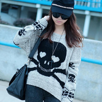 2013 women's fashion skull pattern loose sweater batwing sleeve sweater