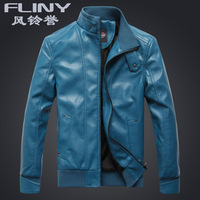Autumn and winter outerwear SEMIR leather clothing men's clothing blue thermal stand collar slim short design repair