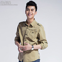 Semir Men long-sleeve shirt casual epaulette 2013 spring and autumn stand collar 100% cotton slim clothing male