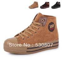 Frees hipping! 2012 cotton-padded platform deerskin velvet female casual shoes, lovers shoes