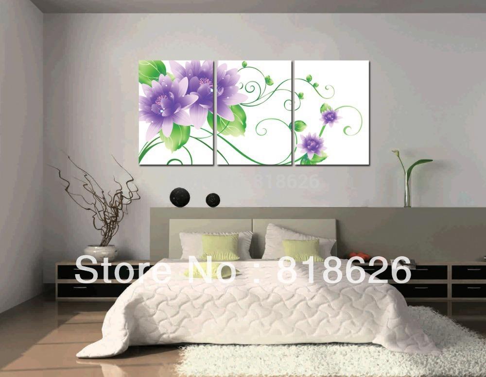 3 piece elegant purple white flowers huge abstract canvas