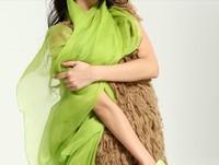 Free shipping wholesale 10pcs/lot 2014 neon color paris yarn fashion cape silk scarf long design beach towel sachet