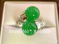 FREE SHIPPING>>  Beautiful Tibet silver natural green jade ring size 7-9