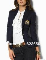 2013 Spring Autumn Winter Coats Women's polo Slim Jacket Fashion Blazers Casual Black Cotton Suits Drop Shipping