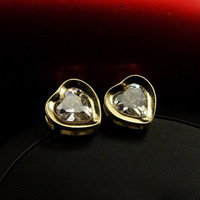 FREE Shipping,14k Gold Plated,Heart Zircon Small Earrings With Packing BTEH003