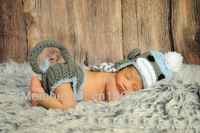 Free shipping monkey baby hat and shorts handmade crochet newborn photography props baby hat and shorts