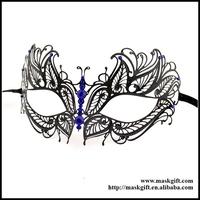 Free Shipping 48pcs/lot Halloween Venetian Gloss Black Metal Party Masks With Blue Crystals MC001-BLBK