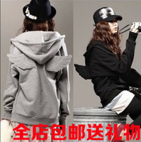 Free shipping Spring and autumn zipper wings cartoon lovers sweatshirt lovely outerwear juniors clothing outerwear