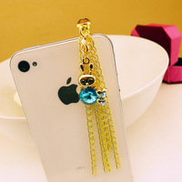 rhinestone 2013 tassel  rabbit crystal luxury dust plugs for iphone earphones 4s plug for iphone mobile phone accessories