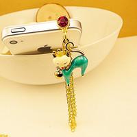 diamond cat animal headphone anti dust plug dust cap for iPhone 5 4 4s 20pcs/lot Free shipping cell phone dust plug charm