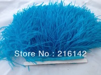 Free Shipping- 10yards/lot Turquoise ostrich feather trimming fringe on Satin Header 5-6inch in width(color as picture)