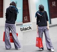2013 New Women's Free Shipping Leisure Style Water Wash Bloomers Harem Pants Grey/Deep Blue U10122002