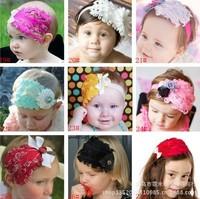 Lovely Bowknot Feather baby headbands Headwear, feather headdress, feather headband, flowers baby headband Hairband