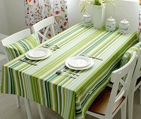 Spring and summer green fresh stripe table cloth tablecloth cloth dining table cloth 100% massifs cotton fabric material