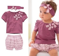 Free shipping Baby Clothes cotton Baby Clothing Set so beautiful kids cute outfit best choice for your baby wear headband pants