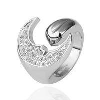 18KGP R174 Moon Face 18K Platinum Plated Ring Nickel Free K Golden Plating Platinum Rhinestone Austrian Crystal SWA Element