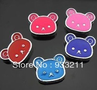 50pcs 8mm  mix color bear slide charm can go through 8mm band fit wristband pet collar/ key chain